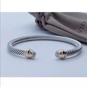 David Yurman Cable Bracelet with Pave Diamond Dome